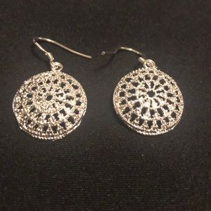 Jewelry - Silver round three-quarter inch dangle earrings